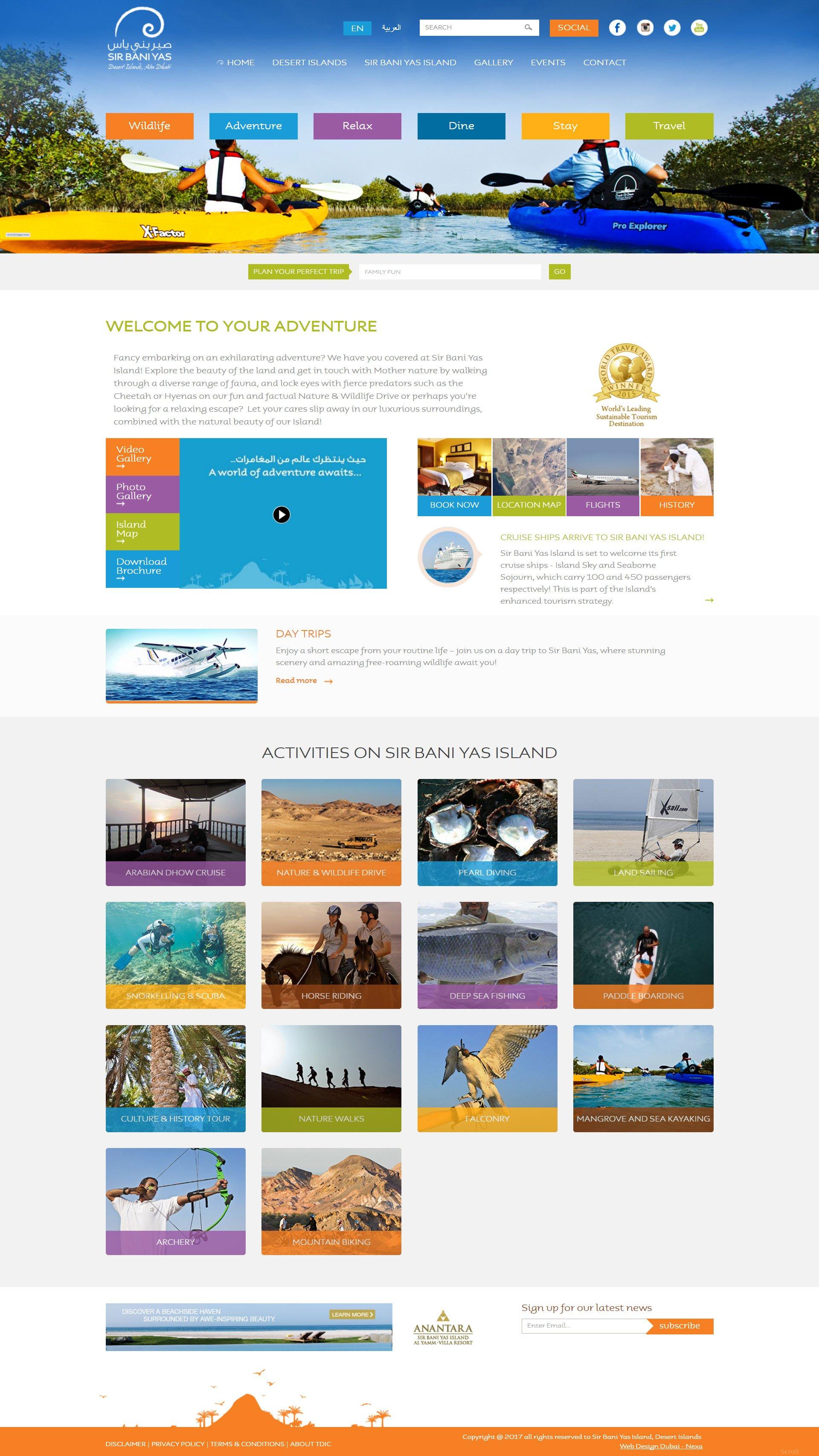Sir Bani Yas Island Website by Nexa, Dubai