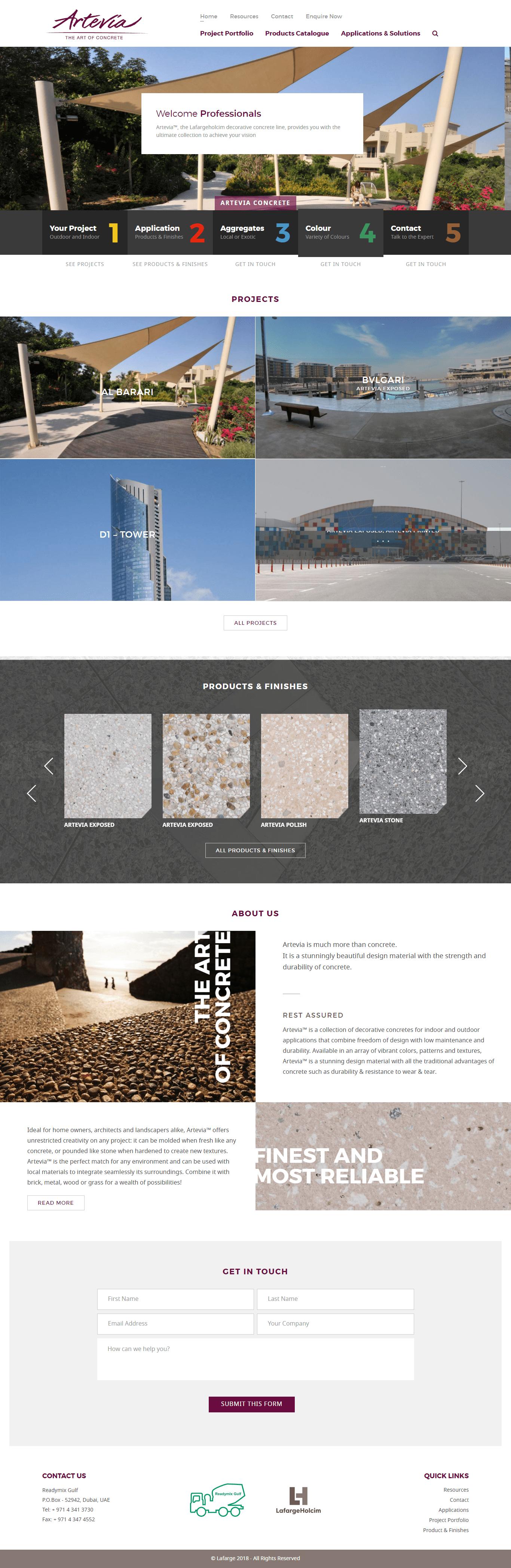 Artevia Concrete Website by Nexa, Dubai